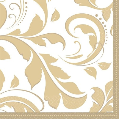Amscan Elegant Scroll 50th Anniversary Beverage Napkins; 5 x 5, Gold, 8/Pack, 16 Per Pack (503851)
