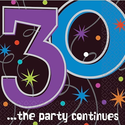 Amscan 30th ...the Party Continues Beverage Napkins, 5L x 5W, 8/Pack, 16 Per Pack (509794)
