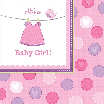 Amscan Shower With Love Girl Lunch Napkins; 6.5 x 6.5, Pink/White, 8/Pack, 16 Per Pack (511489)