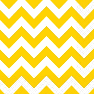 Amscan Chevron Lunch Napkins, 6.5 x 6.5, Yellow Sunshine, 8/Pack, 16 Per Pack (511492.09)