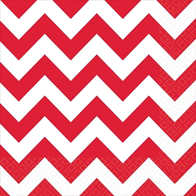 Amscan Chevron Lunch Napkins, 6.5 x 6.5, Apple Red, 8/Pack, 16 Per Pack (511492.4)