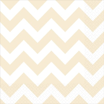 Amscan Chevron Lunch Napkins, 6.5 x 6.5, Ivory, 8/Pack, 16 Per Pack (511492.57)