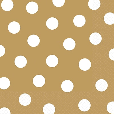 Amscan Polka Dots Lunch Napkins, 6.5 x 6.5, Gold, 8/Pack, 16 Per Pack (511537.19)
