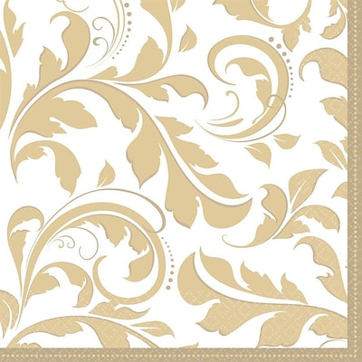 Amscan 50th Anniversary Elegant Scroll Gold Lunch Napkins; 6.5L x 6.5W, 8/Pack, 16 Per Pack (513851)