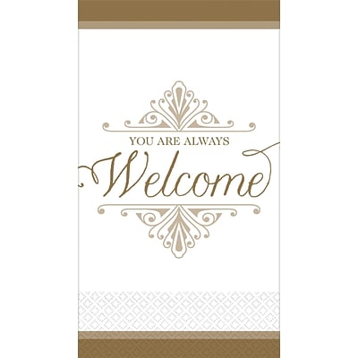 Amscan Premium Welcome Guest Towels, 7.75 x 4.5, Gold, 3/Pack, 16 Per Pack (530057)