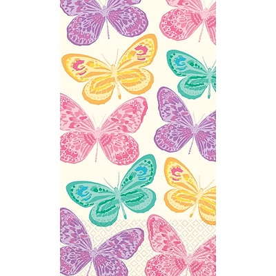 Amscan Spring Butterfly Guest Towels, 7.75 x 4.5, 4/Pack, 16 Per Pack (538514)