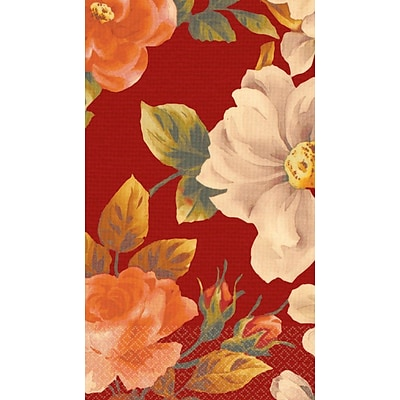 Amscan Classic Floral Red Guest Towels, 7.75 x 4.5, 4/Pack, 16 Per Pack (539701)