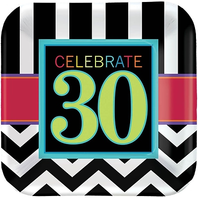 Amscan 7 x 7 30th Celebration Square Paper Plates, 8/Pack, 8 Per Pack (541365)