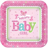 Welcome One Baby Girl Sq Paper Plate