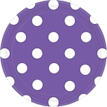 Amscan 7 New Purple Polka Dots Round Paper Plates, 8/Pack, 8 Per Pack (541537.106)
