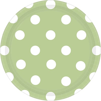 Amscan 7 Leaf Green Polka Dots Round Paper Plates, 8/Pack, 8 Per Pack (541537.115)