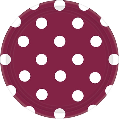 Amscan 7 Berry Polka Dots Round Paper Plates, 8/Pack, 8 Per Pack (541537.27)