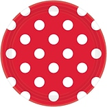 Amscan 7 Apple Red Polka Dots Round Paper Plates, 8/Pack, 8 Per Pack (541537.4)