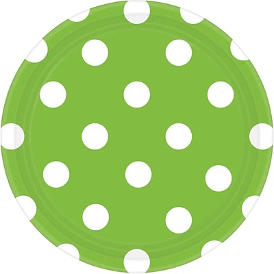 Amscan 7 Kiwi Polka Dots Round Paper Plates, 8/Pack, 8 Per Pack (541537.53)