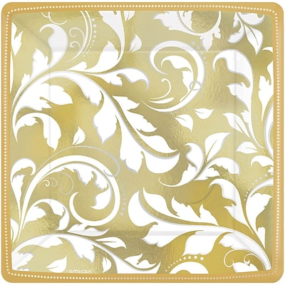 Amscan 50th Anniversary Elegant Scroll Square Metallic Plates 7L x 7W; Gold, 8/Pack, 8 Per Pack (543851)