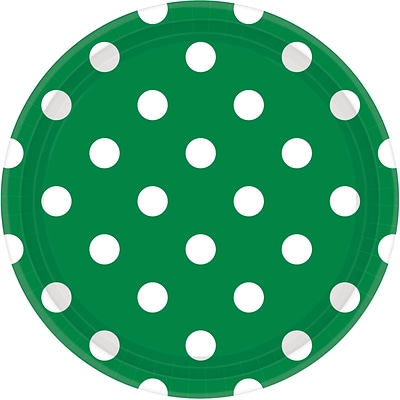 Amscan 9 Festive Green Polka Dots Round Paper Plates, 8/Pack, 8 Per Pack (551537.03)