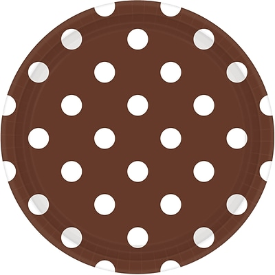 Amscan 9 Chocolate Brown Polka Dots Round Paper Plates, 8/Pack, 8 Per Pack (551537.111)