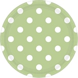 Amscan 9 Leaf Green Polka Dots Round Paper Plates, 8/Pack, 8 Per Pack (551537.115)