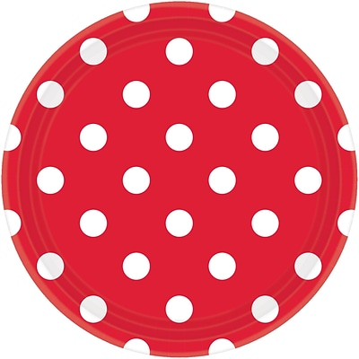Amscan Polka Dots 9 Apple-Red Round Paper Plates, 8/Pack, 8 Per Pack (551537.4)