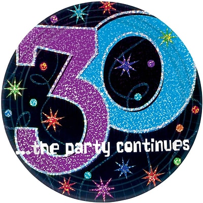 Amscan 9 The Party Continues 30 Round Paper Plates, 8/Pack, 8 Per Pack (559794)