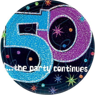 Amscan 9 The Party Continues 50 Round Paper Plates, 8/Pack, 8 Per Pack (559796)