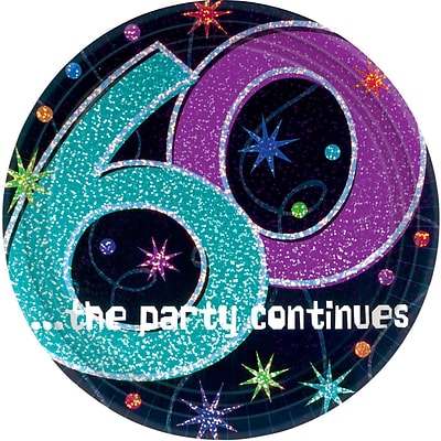 Amscan 9W Round, 60th ..the Party Continues Paper Plates, 8/Pack, 8 Per Pack (559797)