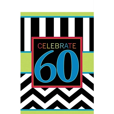 Amscan 102 x 54 60th Celebration Tablecover, 4/Pack (571368)