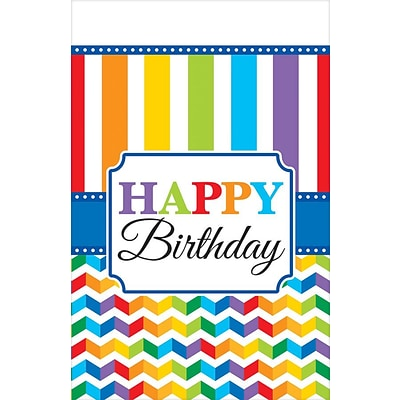 Amscan Bright Birthday Tablecover; 102 x 54, 4/Pack (571465)