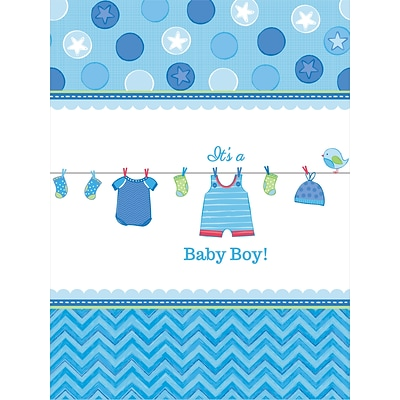 Amscan 102 x 54 Boy Shower With Love Tablecover; 4/Pack (571491)