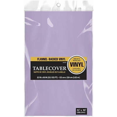Amscan Flannel-Backed Vinyl Table Cover, 52 x 90, Lavender, 3/Pack (579590.04)