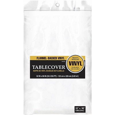 Amscan 52 x 90 White Flannel-Backed Vinyl Table Cover, 3/Pack (579590.08)