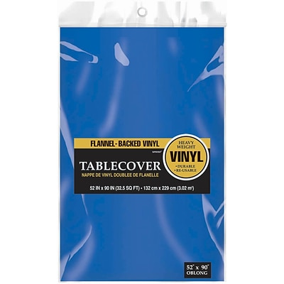 Amscan Flannel-Backed Vinyl Table Cover, 52 x 90, Royal Blue, 3/Pack (579590.105)