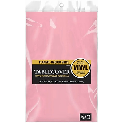 Amscan Flannel-Backed Vinyl Table Cover, 52 x 90, Pink, 3/Pack (579590.109)