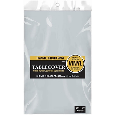 Amscan 52 x 90 Silver Flannel-Backed Vinyl Table Cover, 3/Pack (579590.18)