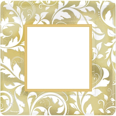 Amscan 10 x 10 Gold Elegant Scroll 50th Anniversary Square Metallic Plates, 8/Pack, 8 Per Pack (593851)