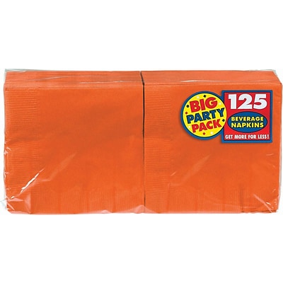 Amscan Big Party Pack Napkins, 5 x 5, Orange, 6/Pack, 125 Per Pack (600013.05)