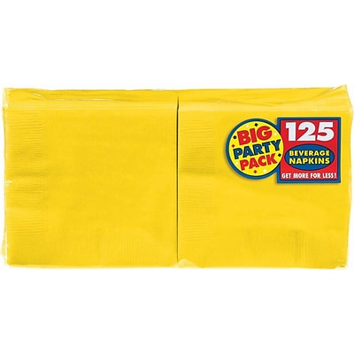 Amscan Big Party Pack Napkins, 5 x 5, Sunshine Yellow, 6/Pack, 125 Per Pack (600013.09)