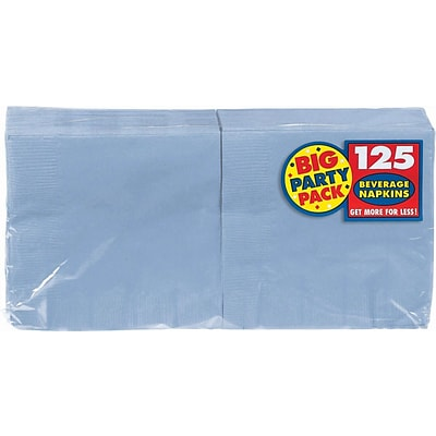 Amscan Big Party Pack Napkins, 5 x 5, Pastel Blue, 6/Pack, 125 Per Pack (600013.108)