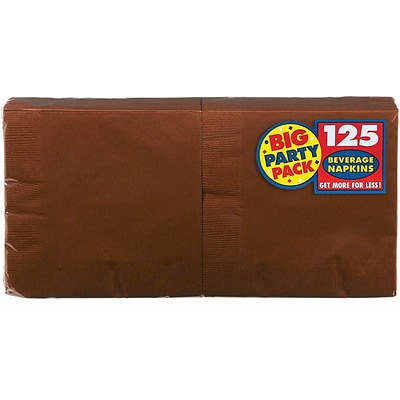 Amscan Big Party Pack Napkins, 5 x 5, Chocolate Brown, 6/Pack, 125 Per Pack  (600013.111)