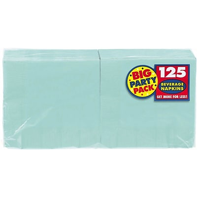 Amscan Big Party Pack Napkins, 5 x 5, Robins Egg Blue, 6/Pack, 125 Per Pack  (600013.121)