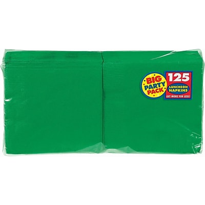 Amscan Big Party Pack Napkins, 6.5L x 6.5W, Festive Green, 4/Pack, 125 Per Pack (610013.03)