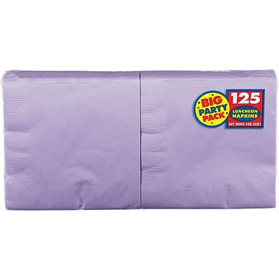Amscan Big Party Pack Napkins, 6.5 x 6.5, Lavender, 4/Pack, 125 Per Pack (610013.04)