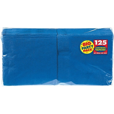 Amscan Big Party Pack Napkins, 6.5 x 6.5, Royal Blue, 4/Pack, 125 Per Pack  (610013.105)