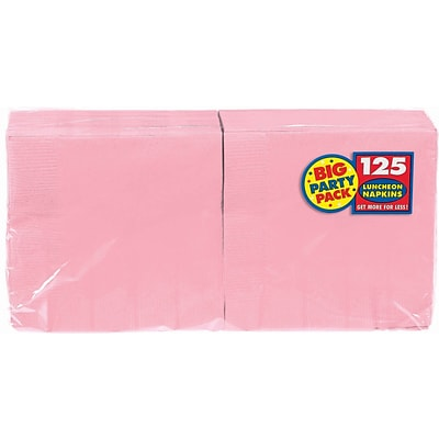 Amscan Big Party Pack Napkins, 6.5 x 6.5, Pink, 4/Pack, 125 Per Pack (610013.109)