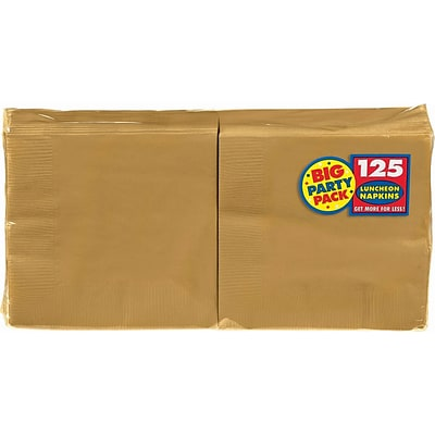 Amscan Big Party Pack Napkins, 6.5 x 6.5, Gold, 4/Pack, 125 Per Pack (610013.19)