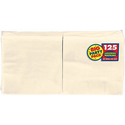 Amscan Big Party Pack Napkins, 6.5 x 6.5, Vanilla Creme, 4/Pack, 125 Per Pack (610013.57)