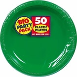 Amscan 7 Festive Green Big Party Pack Round Plastic Plastic Plates, 3/Pack, 50 Per Pack (630730.03)
