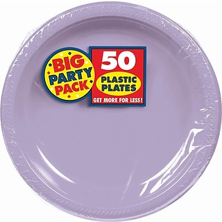 Amscan Big Party Pack Lavender 7 Round Plastic Plates, 3/Pack, 50 Per Pack (630730.04)
