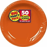 Amscan Big Party Pack 7 Orange Round Plastic Plates, 3/Pack, 50 Per Pack (630730.05)