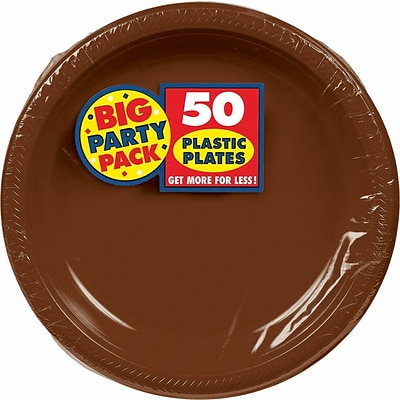 Amscan Big Party Pack 7 Chocolate Brown Round Plastic Plates, 50 Per Pack (630730.111)